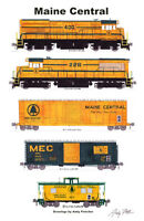 "Maine Central 1980s-era Train 11""x17"" Railroad Poster Andy Fletcher signed"