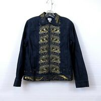 Chico's Womens Embellished Denim Jean Jacket Blue Sequins Long Sleeve Size 1