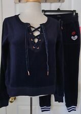 NWT Womens Betsey Johnson Performance Velour 2 Pc Lace-up Track Suit Jogger Navy