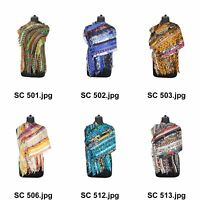 Vintage Recycled Silk Sari 15 Strip Scarf Stole Patchwork Scarves Assorted
