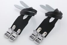 New Atozi Double Leather Straps For Bike Bicycle Cycle Pedal Toe Clips - Black