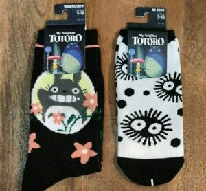 My Neighbor Totoro Crew Sock Sz 5-10 2 Pairs Totoro & Soot Sprites Bioworld NWT