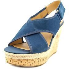 Sandali e scarpe blu zeppa per il mare da donna 100% pelle