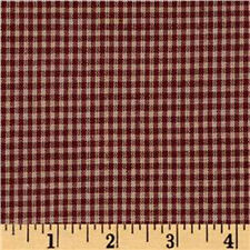 "100% Cotton Fabric BTY 45"" Americana Prim Homespun 1/8""  Mini-Check Barn Red"