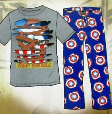 Capt. America Pajamas Mens Size-Medium 2-pc Sleep Set Marvel Comics Red Skull