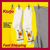Korjo Portable Travel Camping Clothesline Washing Clothes Line Rope w/8Clips Peg
