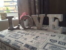 Shabby Vintage Chic Style Love Home Wooden Letters Freestanding Sign Floral
