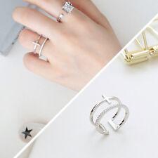 Damen Ring Doppelreihen  Kreuz echt Silber 925 Zirkonia größenverstellbar 51-54