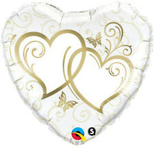 Party Supplies Love Valentines Day Entwinded Hearts Gold 91cm Foil Balloon