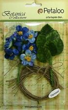 Royal Blue Velvet Fabric 12mini Blossoms 25mm & 12 Leaves 25x30mm Burlap Tie Pet