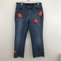 Who What Wear Hummingbird Flower Embroidered Crop Jeans Raw Hem Stretch Sz 10