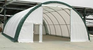 GM 30x65x15 (10.5 oz PE)  Canvas Fabric Coverall Storage Building Shop Shelter