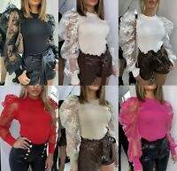 Women's Ladies Fine Ribbed Floral Lace Sheer Puff Sleeve Embroidered Jumper Top