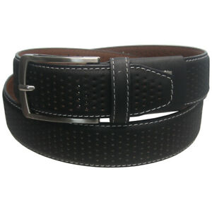 Greg Norman Golf Men's Leather Side Stitch Stretch Fit Perforated Belt,  New