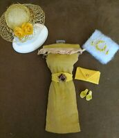 VINTAGE BARBIE YELLOW GOLD KNIT DRESS  VERY NICE!  PLUS LOTS OF FREE EXTRAS!