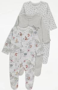 Disney Winnie the Pooh Sleepsuit Baby Girl Boy Unisex Multipack George New