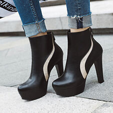 Platform Ankle Boots For Women Leather Zip Chunky Heel Winter Booties US 6 Black