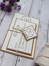 Rustic Kraft Wedding Invitation SAMPLE Set Wedding Stationery Recycled paper