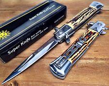 "8.75"" Italian Milano Stiletto Damascus Spring Assisted Open Pocket Knife STG"