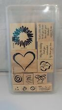 Stampin Up Rubber Stamps Set SKETCH IT Heart Flower Bow Leaf Swirl Set of 12
