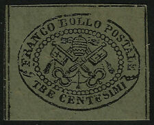 PAPAL ROMAN STATES, 3 CENT., GREY PAPER, YEAR 1867, MINT