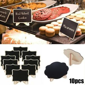 10Pcs Mini Wooden Blackboard Wedding Party Chalkboard Sign Message Table Stand