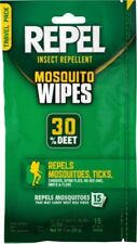 Repel Mosquito Repellent 30% DEET Ticks Chiggers Gnats Bugs Wipes 15 Pack LG QTY