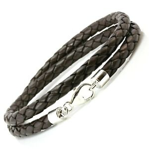 5mm Leather Bracelet-Sterling Silver Clasp-Dark Brown Braided Double Wrapped