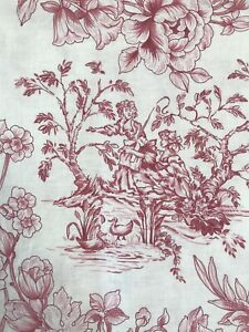 Red on Cream Toile De Jouy Reclaimed Fabric Remnants