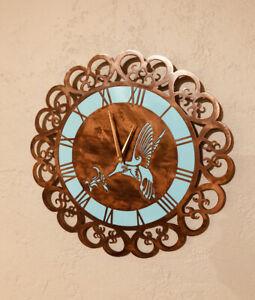Hummingbird Metal Art clock Rustic  Copper Home Decor