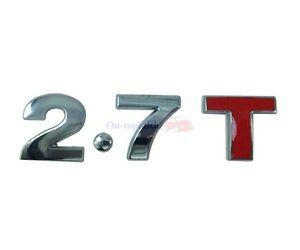 2.7T 2.7 T 7.2T Turbo Engine Metal Rear Trunk Emblem Badge Decal Sticker