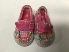Girl baby shoes size 2 W pink multicolored plaid hook loop closure Teeny Toes F8
