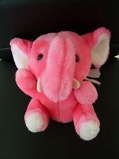K5- DOUDOU PELUCHE ELEPHANT CP ROSE FLUO BLANC 20cms assis YEUX PLASTIQUE MARRON