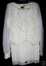 NWT CACHET by Bari Protas ivory lace vintage skirt suit wedding portrait M 5 6