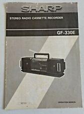 SHARP STEREO RADIO CASSETTE RECORDER. GF-330E OPERATION MANUAL.