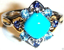 18K MULTI-GOLD BLUE TURQUOISE, IOLITE & BLUE TOPAZ RING, SIZE 7.5, 1.85(TCW) 3G