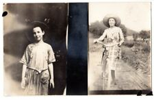 RPPC  real photo dual image pretty girl different ages big hat bicycle bike