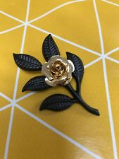 New/Old Stock Brooch - Gold And Black Rose - 80s/90s Fashion Brooch