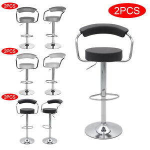 2pcs Bar Stools Gas Lift Swivel Stool Hub Club Cafe Breakfast Chairs PU Leather