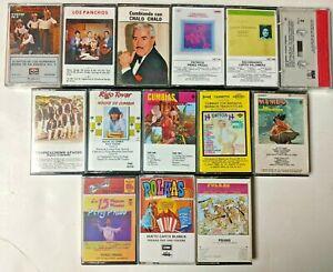 Lot 14 Mexican Spanish Music Cassettes:Juan Gabriel, Los Ponchos, Cumbias,Mambos
