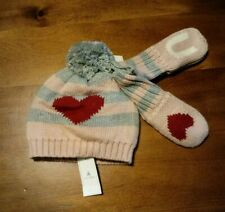 Baby Gap Girl Cap Hat and Mitten Set 12-18 Months New With Tags Pink