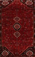 Vintage Geometric Abadeh Wool Area Rug 6x10 Tribal Hand-Knotted Oriental Carpet