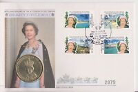 TURKS & CAICOS ISLANDS PNC COIN COVER 5 CROWNS QEII 40TH ANNIVERSARY ACCESSION