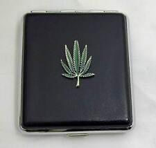 King Size Black Leather 18pcs Cigarette Case/ID Wallet Holder-Leaf Pewter
