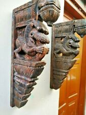 Wall Bracket Corbel Pair Temple Yalli Dragon Statue Yali Vastu Sculpture Vintage