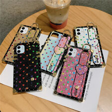 Fr iPhone 12 11 Pro Samsung S20 Glitter Bling Shockproof Heart Square Case Cover