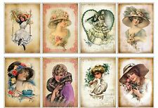 8 Vintage Lady Shabby Chic Hang Tags Scrapbooking Paper Crafts (5)