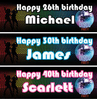 2 personalised birthday banner balloon disco music dance adults party decoration