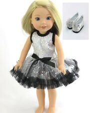 """Doll Clothes 14.5 Inch Wellie Wishers Dress Silver Black Shoes Fit 14.5"""" Dolls"""