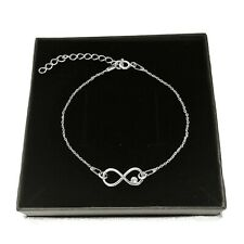 925 Sterling Silver Swarovski Infinity Bracelet Adjustable Gift Box Rhodium